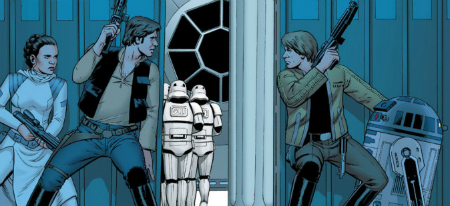 Leia, Han, Luke, R2